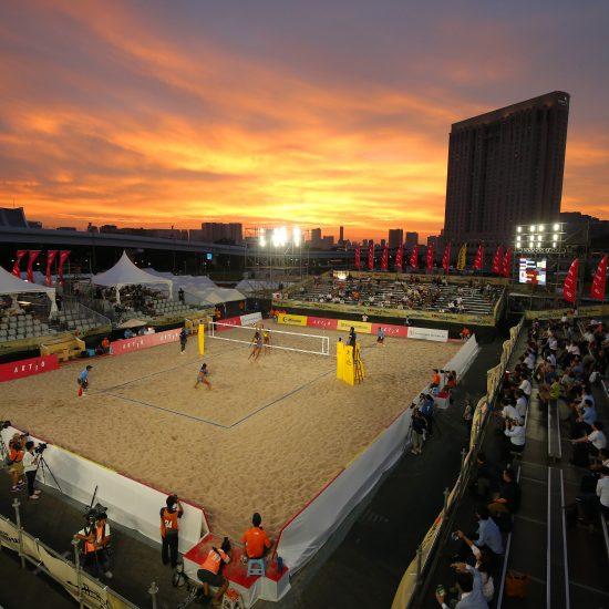 2019年7月下旬、潮風公園で開催。<br>「FIVBビーチバレーボールワールドツアー2019  4-star 東京大会」。