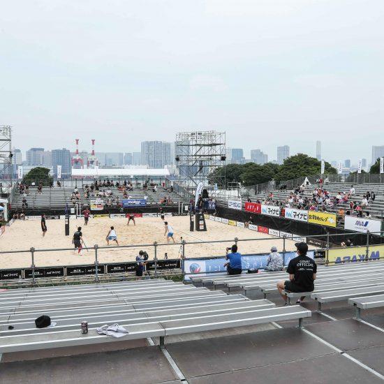 東京2020の会場・潮風公園で開催。<br>「マイナビジャパンツアー2019第4戦東京大会」。